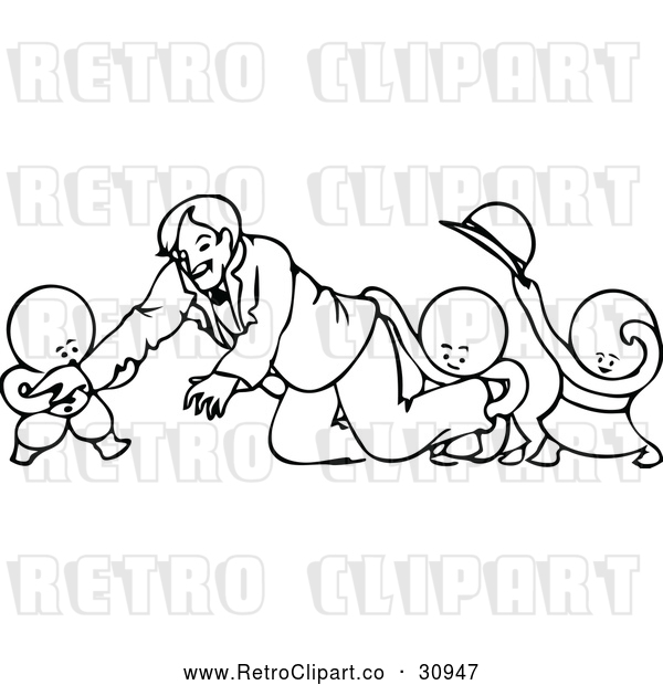 Vector Clip Art of Retro Children Playing Around with a Smiling Man