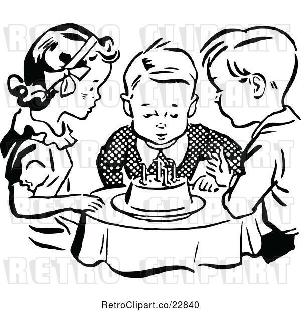Vector Clip Art of Retro Children Watching a Boy Blow out His Birthday Cake Candles