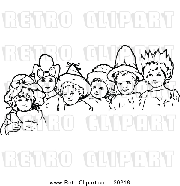 : Vector Clip Art of Retro Children Wearing Hats