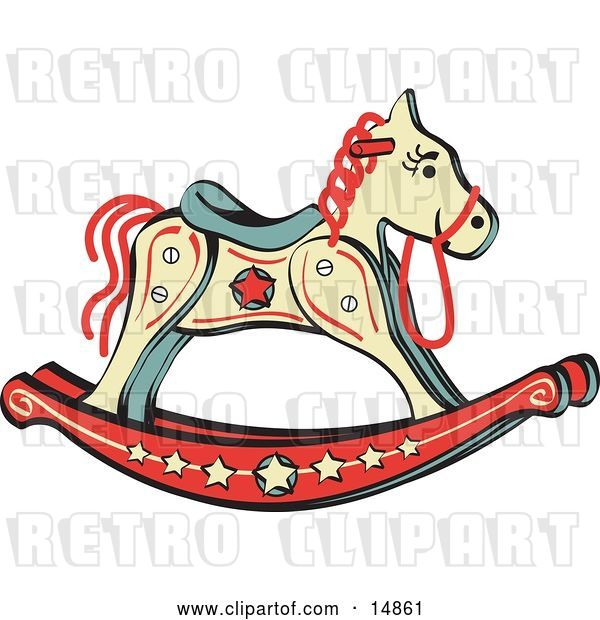 Vector Clip Art of Retro Child's Rocking Horse with Star Decorations