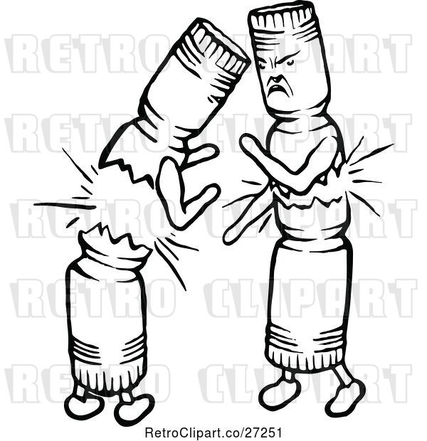 Vector Clip Art of Retro Christmas Crackers Fighting