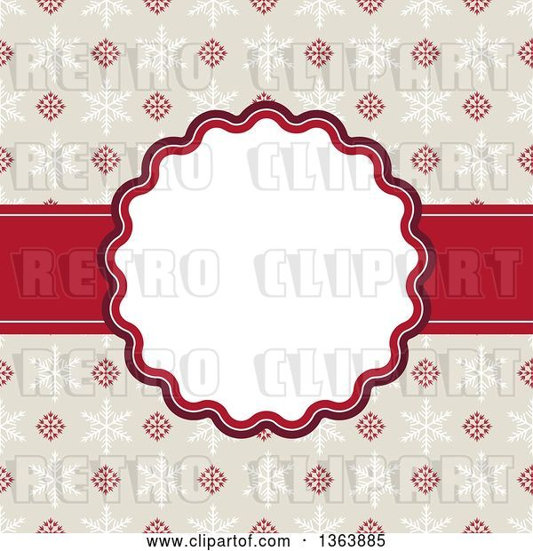 Vector Clip Art of Retro Christmas Frame with Snowflakes and Text Space