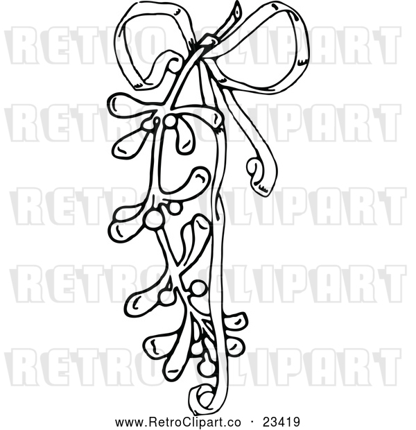 Vector Clip Art of Retro Christmas Mistletoe and Ribbon