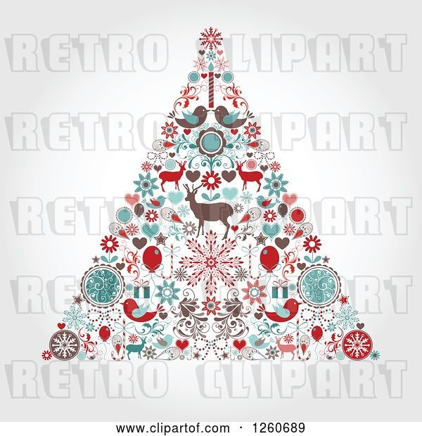 Vector Clip Art of Retro Christmas Tree Made of up Holiday Items on Shading