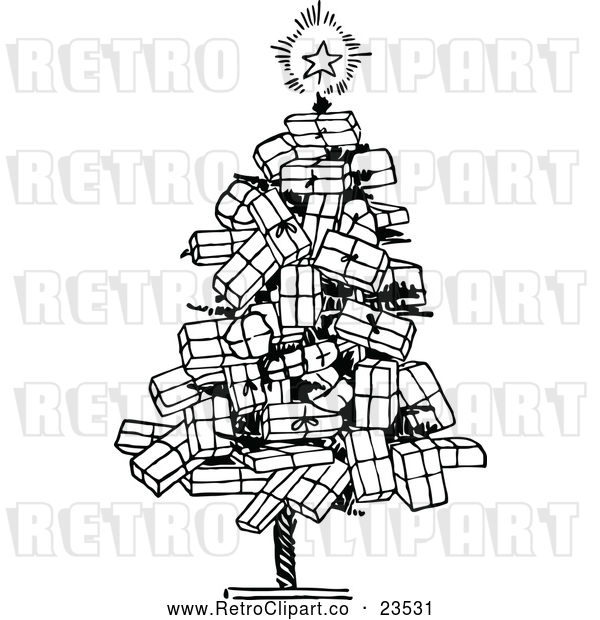 Vector Clip Art of Retro Christmas Tree of Gifts