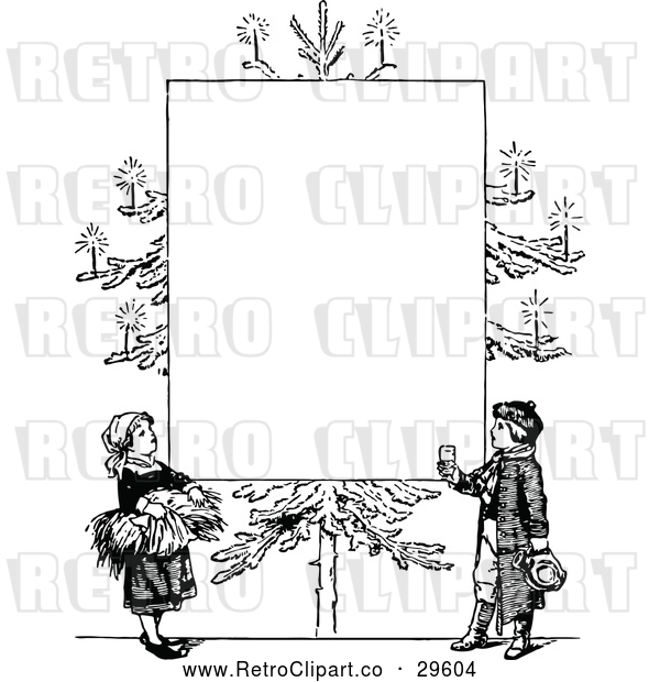 Vector Clip Art of Retro Christmas Tree with Candles and Children Frame