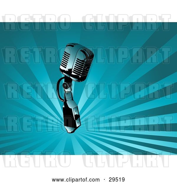 Vector Clip Art of Retro Chrome Microphone over a Background of Rays of Blue Light