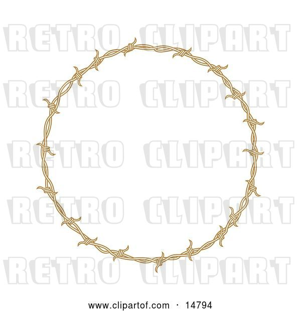 Vector Clip Art of Retro Circular Border Frame of Barbed Wire over a White Background