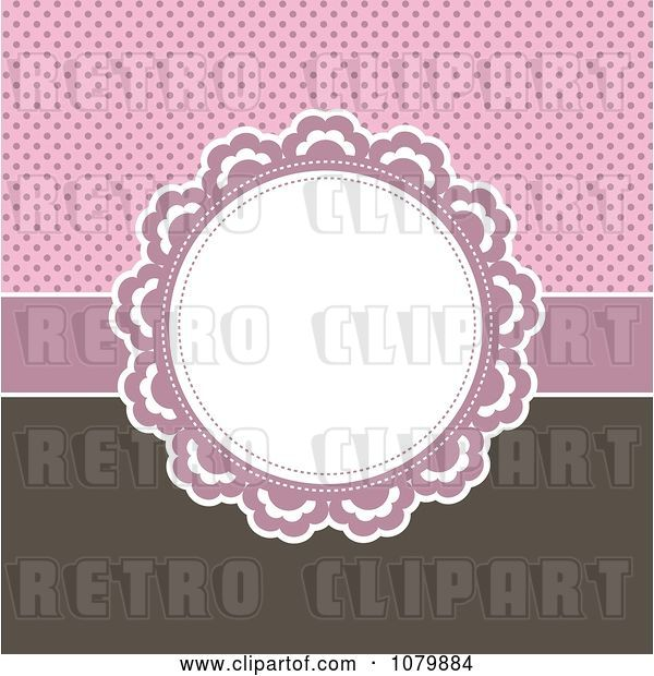 Vector Clip Art of Retro Circular Frame over a Pink Polka Dot and Brown Background