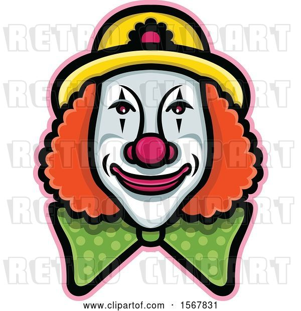 Vector Clip Art of Retro Circus Clown Face