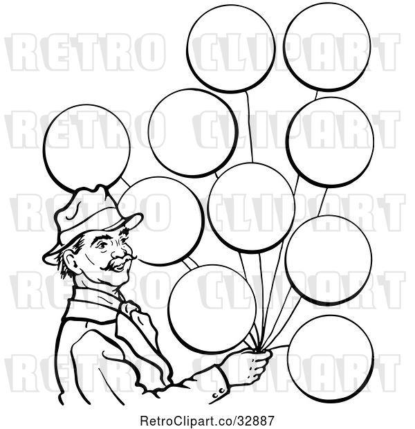 Vector Clip Art of Retro Circus Guy with Balloons in