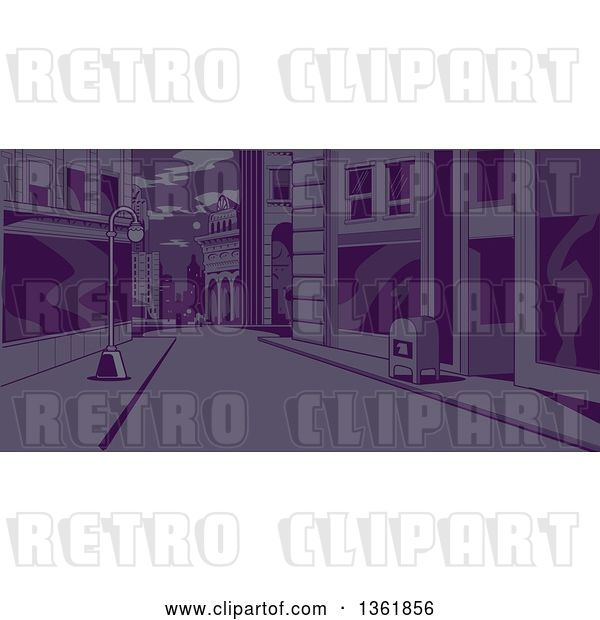 Vector Clip Art of Retro City Street Scene at Night