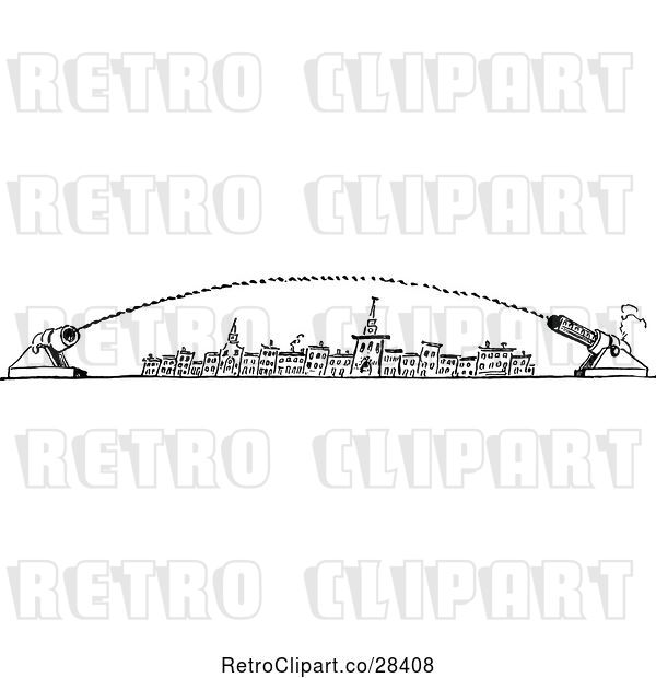 Vector Clip Art of Retro City with Canons