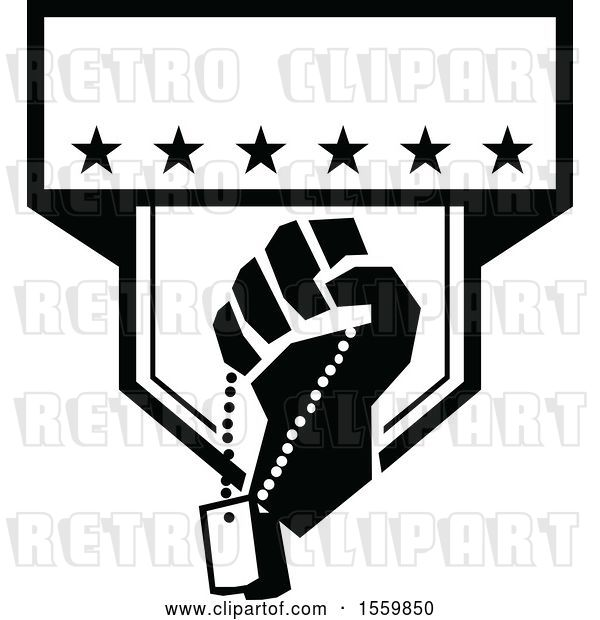 Vector Clip Art of Retro Clenched Fist Holding Military Dog Tags in a Crest