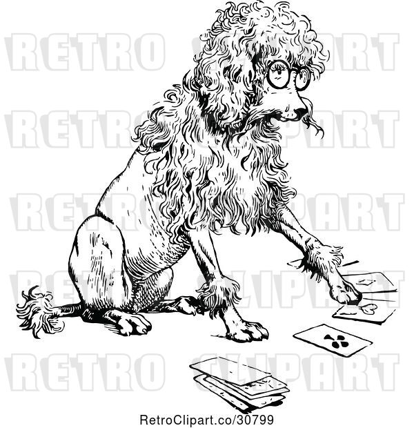 Vector Clip Art of Retro Clever Poodle Playing Cards