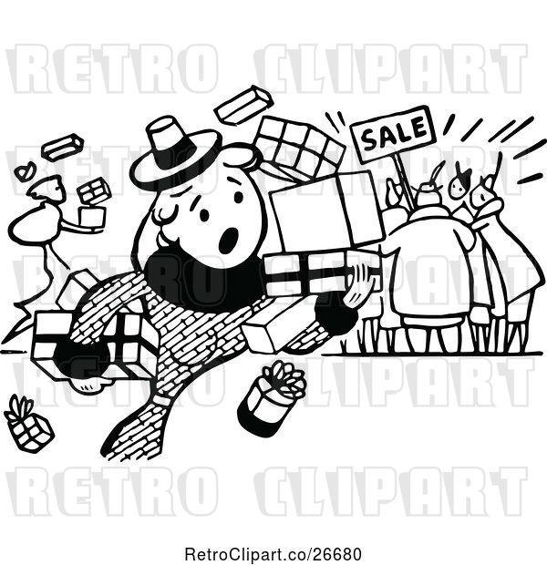 Vector Clip Art of Retro Clumsy Shopper at a Sale