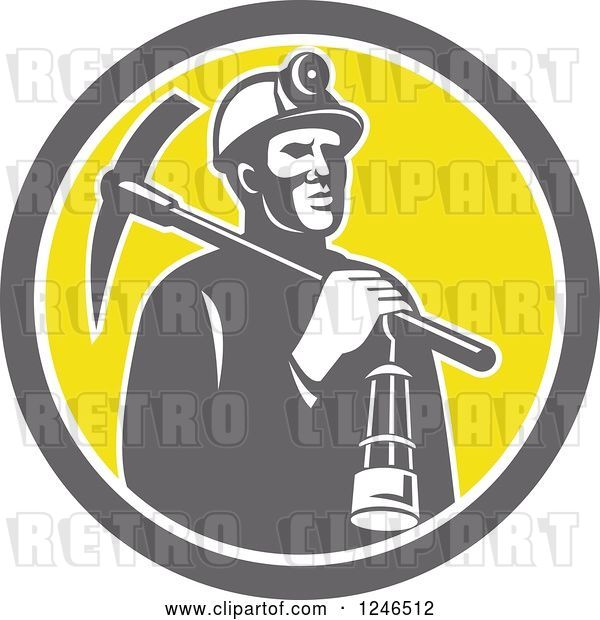 Vector Clip Art of Retro Coal Miner with a Lantern and Pickaxe in a Circle