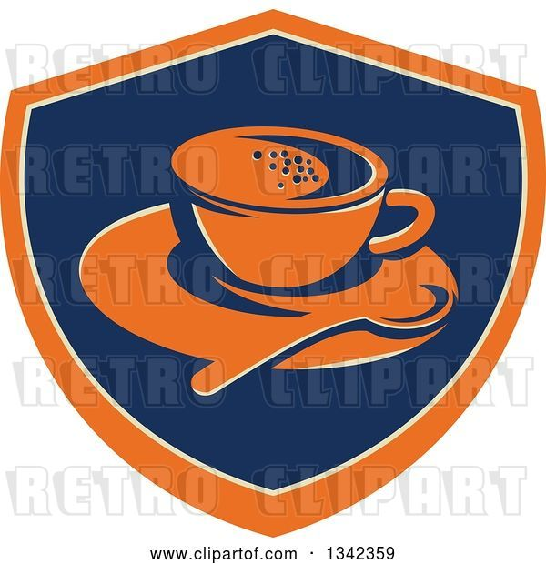 Vector Clip Art of Retro Coffee Cup, Spoon and Saucer in an Orange Blue and Tan Shield