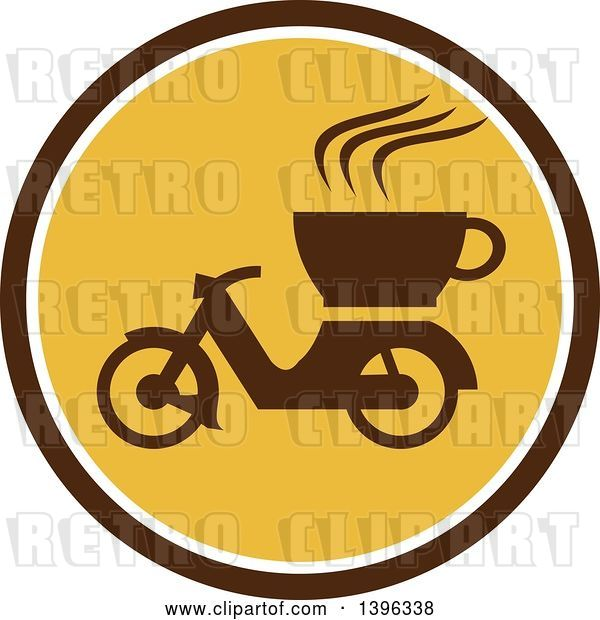 Vector Clip Art of Retro Coffee Moped in a Brown White and Yellow Circle