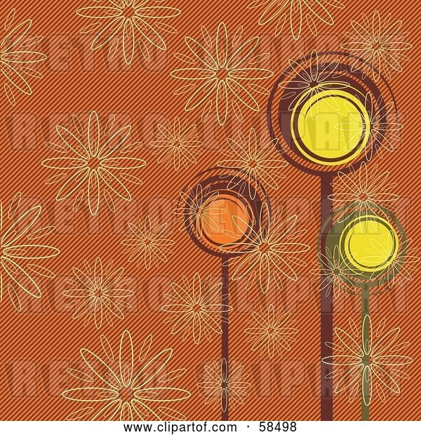 Vector Clip Art of Retro Colored Background of Trees and Flowers