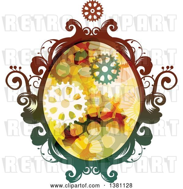Vector Clip Art of Retro Colorful Oval Steampunk Frame with Gears