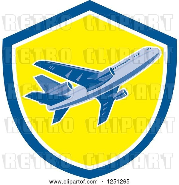 Vector Clip Art of Retro Commercial Airliner in a Blue and Yellow Shield