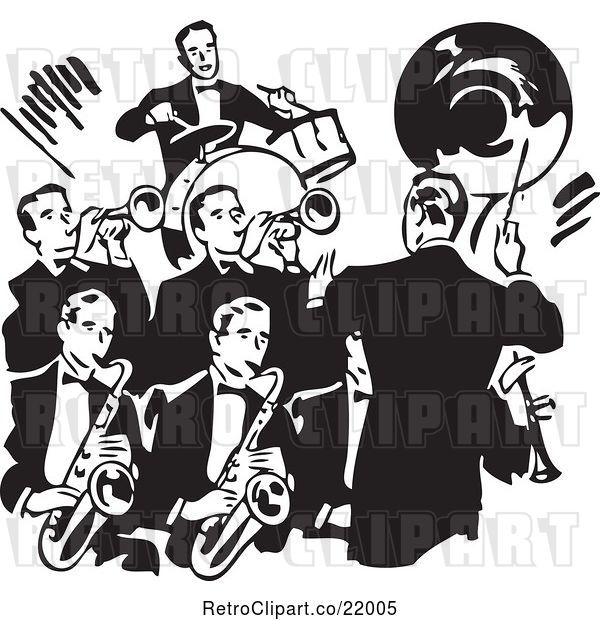 Vector Clip Art of Retro Conductor Leading a Band of Men