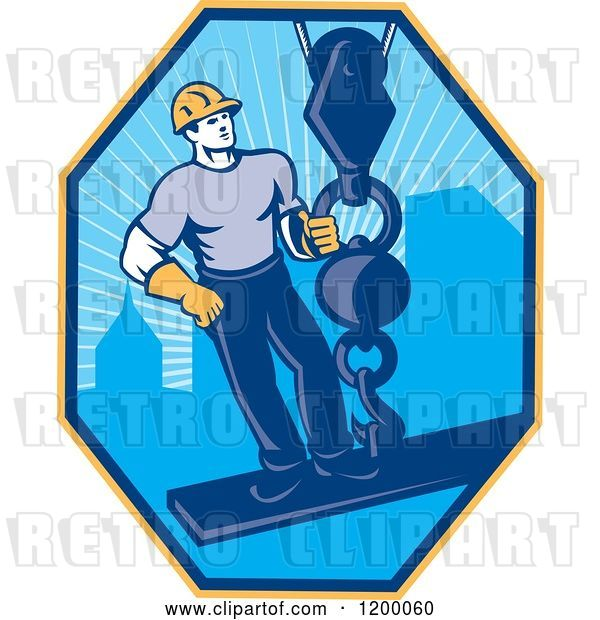 Vector Clip Art of Retro Construction Worker on a Girder Being Hoisted in a Hexagon