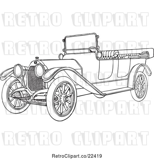 Vector Clip Art of Retro Convertible Car 5