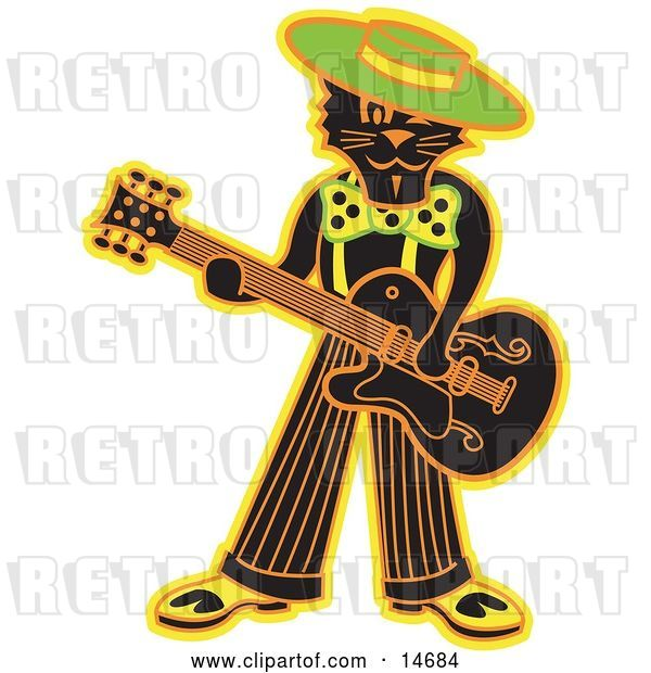 Vector Clip Art of Retro Cool Black Cat Playing a Guitar Clipart Illustration