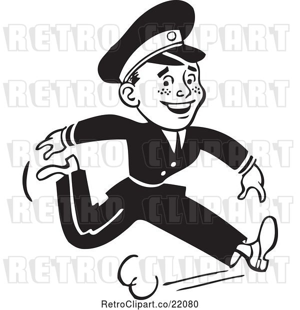 Vector Clip Art of Retro Cop Running