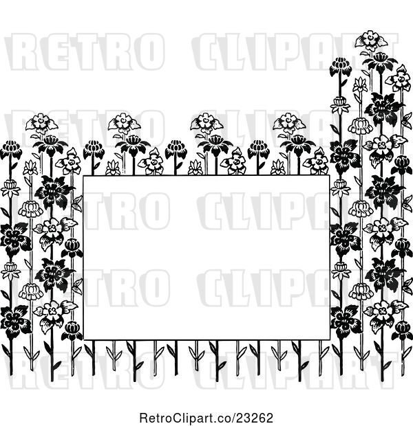 Vector Clip Art of Retro Copyspace Framed with Flower Stalks