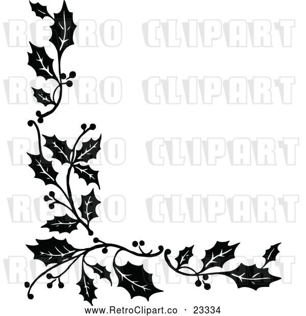 Vector Clip Art of Retro Corner Border of Christmas Holly Sprigs