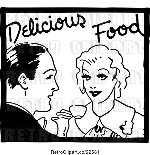 Vector Clip Art of Retro Couple and Delicious Food Service Sign