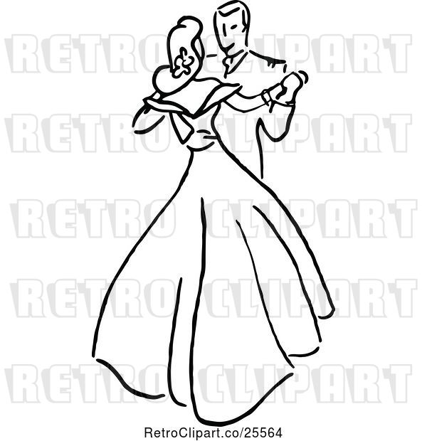 Vector Clip Art of Retro Couple Dancing