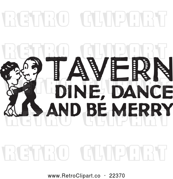 Vector Clip Art of Retro Couple Dancing with Tavern Dine Dance and Be Merry Text