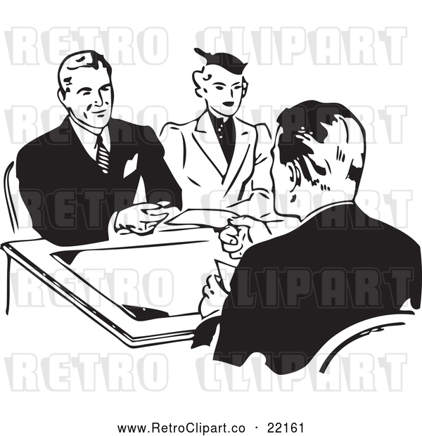 Vector Clip Art of Retro Couple Discussing a Loan