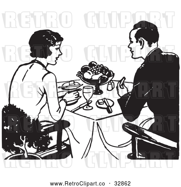 Vector Clip Art of Retro Couple Eating a Meal
