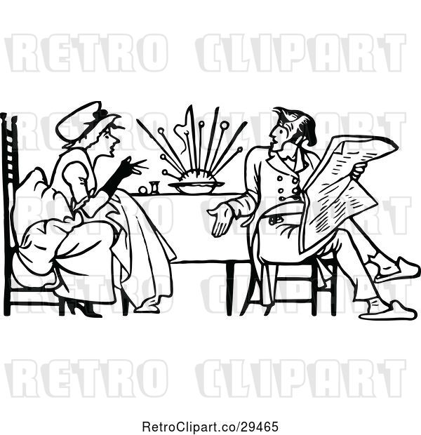 Vector Clip Art of Retro Couple Having a Discussion at a Table