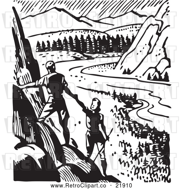 Vector Clip Art of Retro Couple Hiking and Viewing a Valley