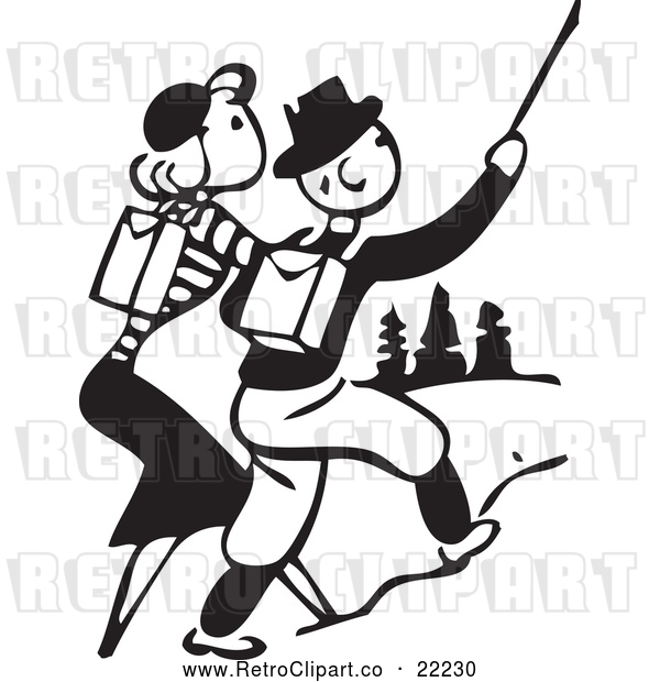 Vector Clip Art of Retro Couple Hiking Outdoors