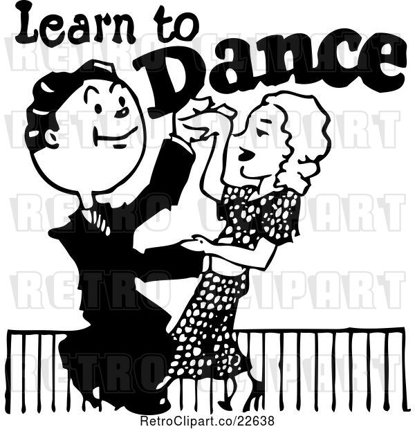 Vector Clip Art of Retro Couple Learning to Dance