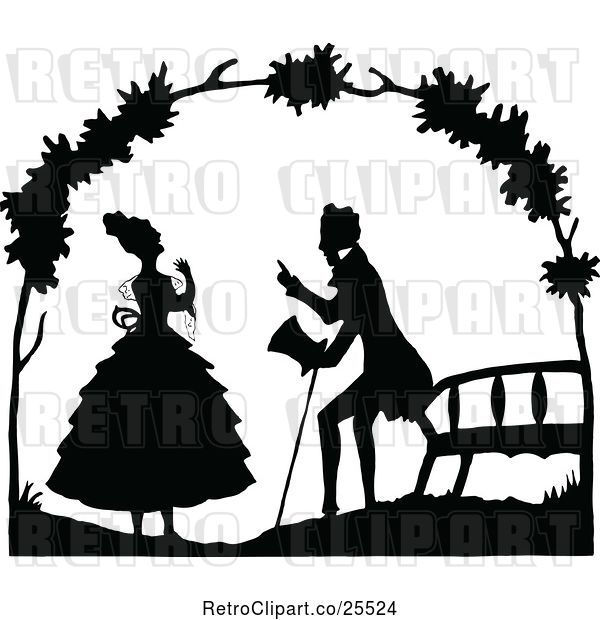 Vector Clip Art of Retro Couple Talking by a Bench
