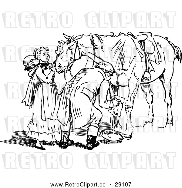 Vector Clip Art of Retro Couple Tending to an Injured Horse