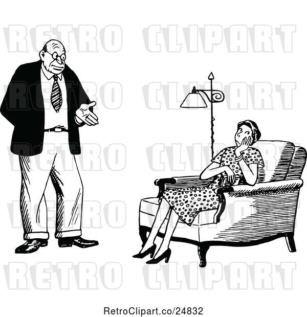 Vector Clip Art of Retro Couple, the Wife Unimpressed
