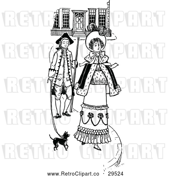 : Vector Clip Art of Retro Couple Walking with a Dog