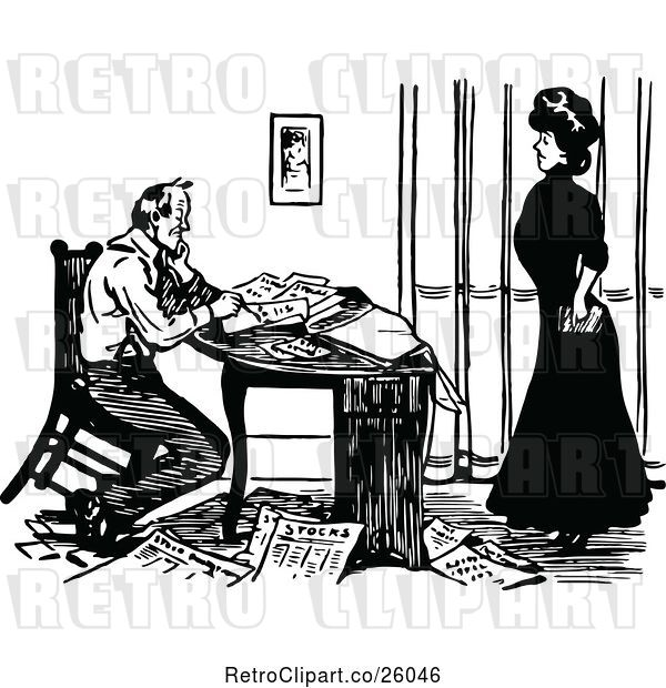 Vector Clip Art of Retro Couple with Papers at a Desk