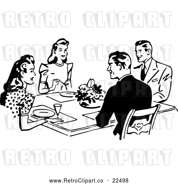 Vector Clip Art of Retro Couples Dining Together