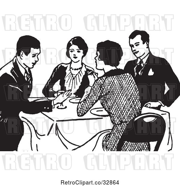 Vector Clip Art of Retro Couples Talking at a Dinner Table