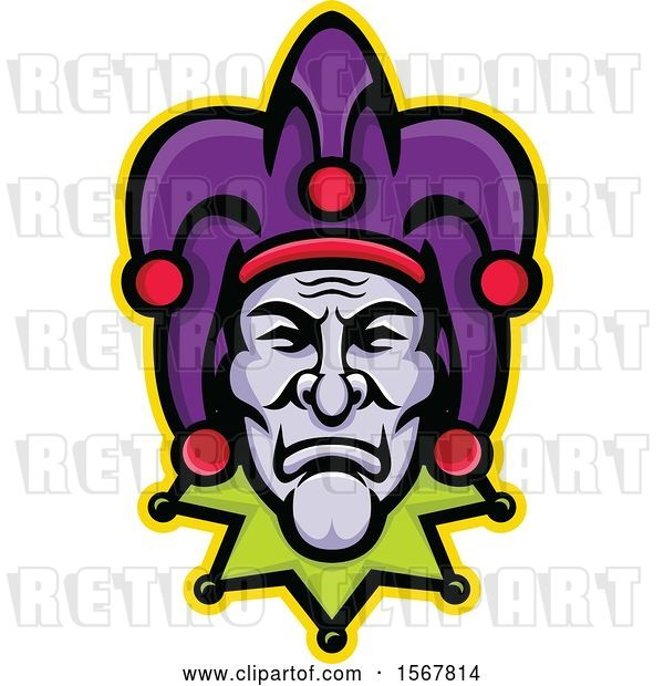 Vector Clip Art of Retro Court Jester Face